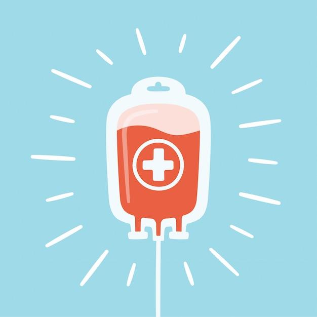 Saco com sangue e raios doados. dia do doador de sangue Vetor Premium