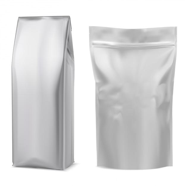 Saco de café em folha. bolsa branca. pacote 3d Vetor Premium