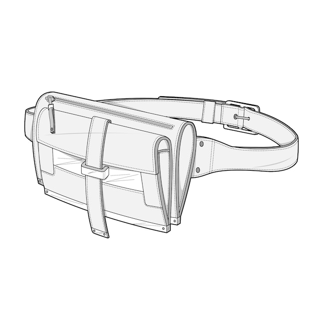 Saco de cintura moda modelo de vetor de desenho técnico plana Vetor Premium