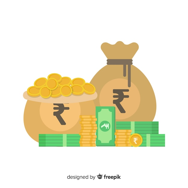 Saco de dinheiro de rúpia indiana Vetor grátis