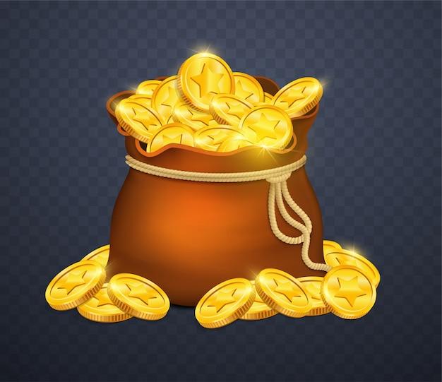 Saco de dinheiro em fundo transparente. Vetor Premium