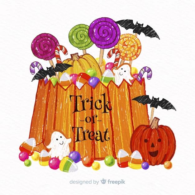 Saco de doces de halloween colorido mão desenhada Vetor grátis