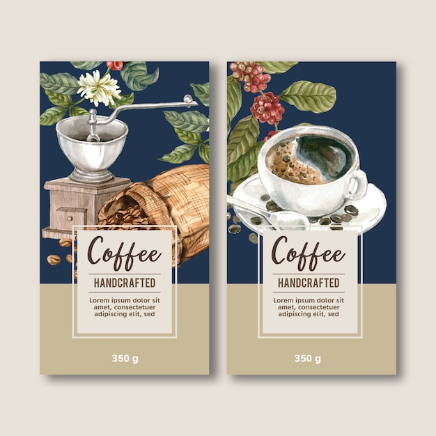 Saco de embalagem de café com ramo de folhas de feijão, máquina de fazer, ilustração de aquarela Vetor grátis