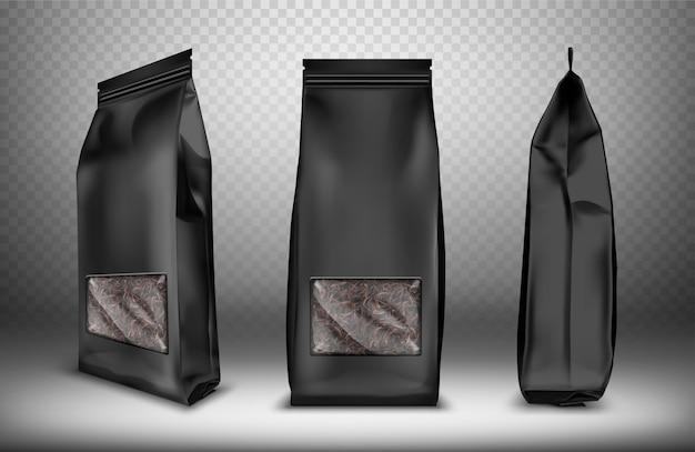 Saco de lanche de pacote de plástico ou folha em branco preto Vetor grátis