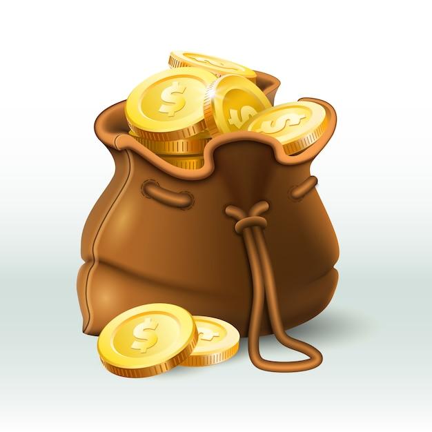 Saco de moedas de ouro, moedas de ouro no velho saco antigo, economizando bolsa de dinheiro e riqueza de ouro 3d realista Vetor Premium