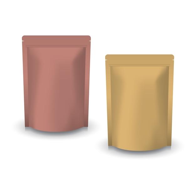Saco ziplock em branco de cobre e papel kraft marrom para comida. Vetor Premium