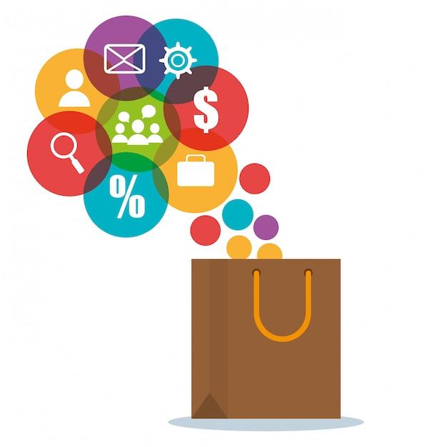 Sacola de compras com ícones de comércio eletrônico Vetor grátis
