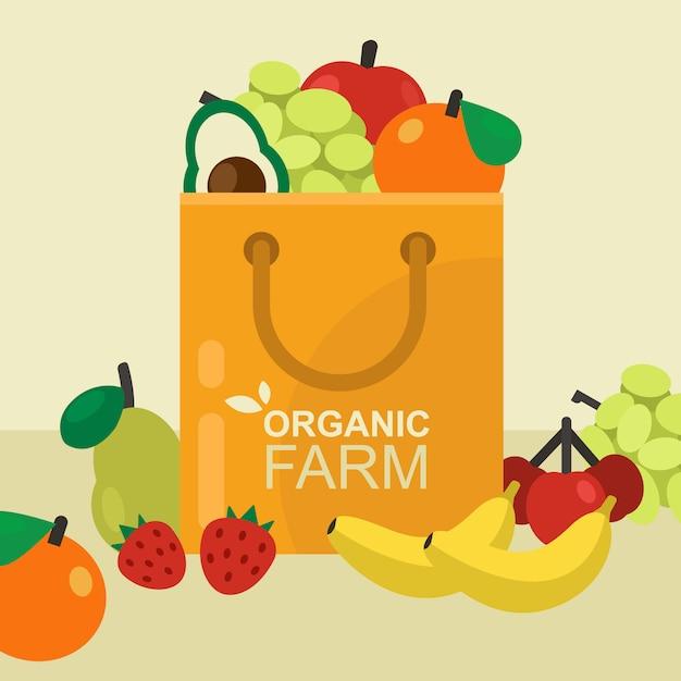Sacola de papel com frutas saudáveis Vetor Premium