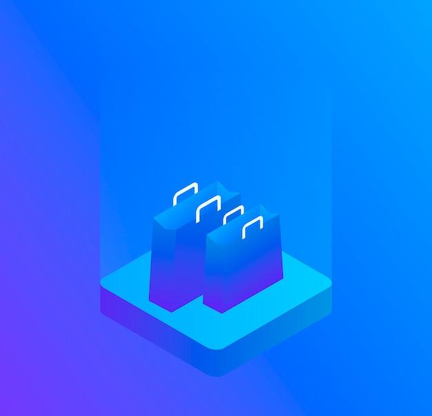 Sacola tridimensional, isolada em azul. ilustração isométrica moderna Vetor Premium