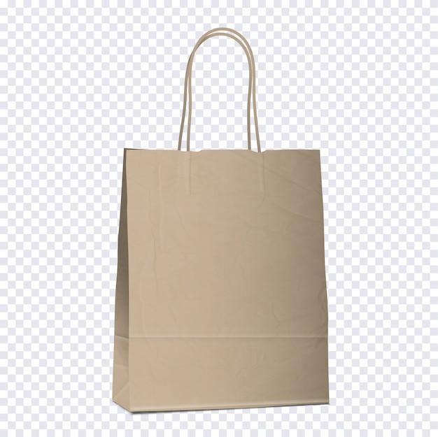Sacola vazia de compras marrom em fundo transparente Vetor Premium