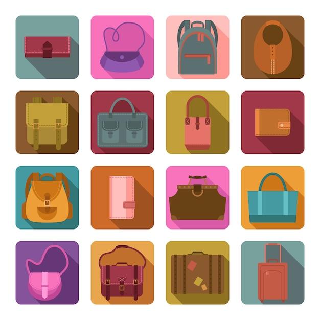 Sacos coloridos conjunto de ícones planas Vetor Premium