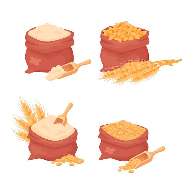 Sacos com trigo, grãos de cevada e farinha, semente de trigo em um saco de estopa com colher de madeira, isolado no fundo branco. conjunto de elementos de comida de agricultura natural em estilo cartoon Vetor Premium