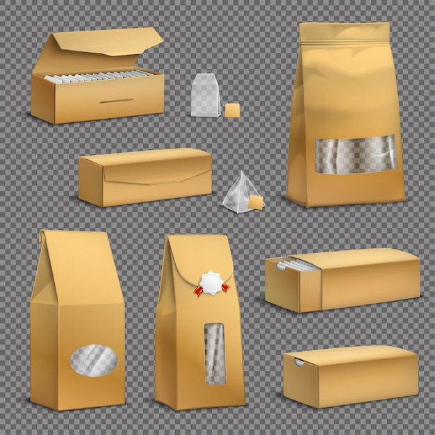 Sacos de chá de papel kraft marrom e folhas soltas pacotes caixas pacotes realista conjunto fundo transparente Vetor grátis