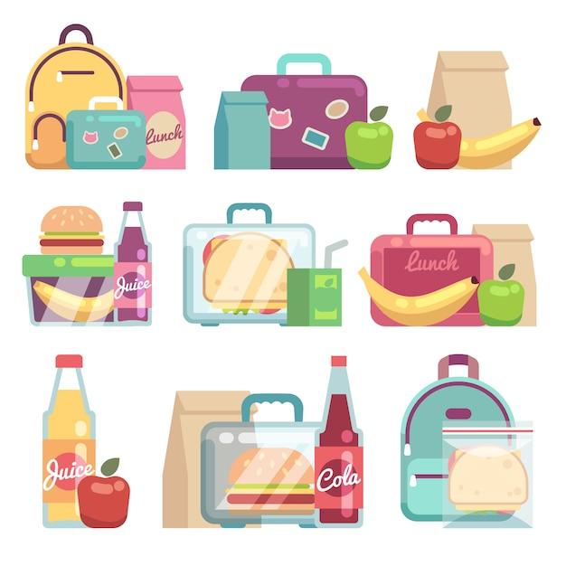 Sacos de lanches escolares. comida saudável em caixas de almoço de crianças definido. Vetor Premium