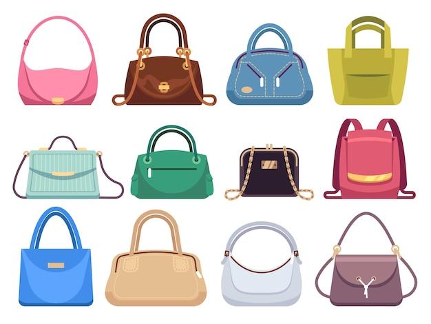 Sacos de senhora. bolsas femininas com acessórios de moda. conjunto de bolsa e bolsa feminina em couro estilo vintage feminino moderno Vetor Premium