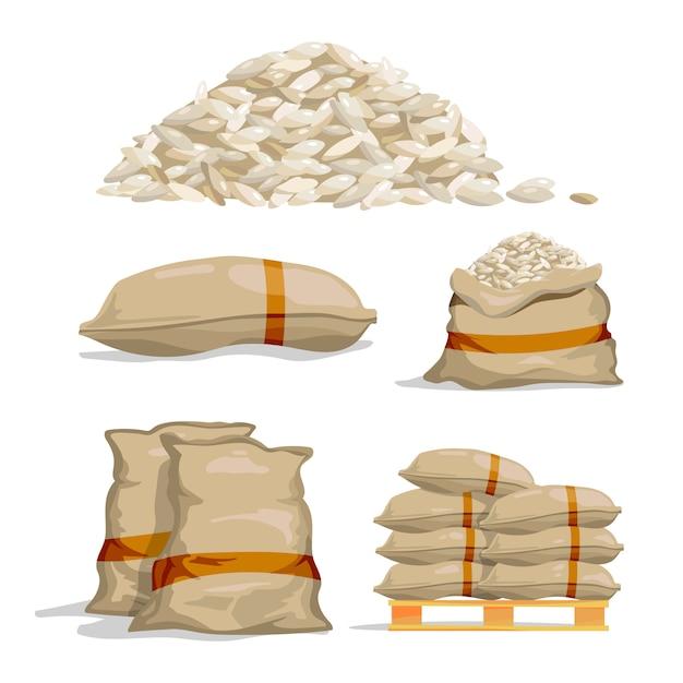 Sacos diferentes de arroz branco. ilustrações de vetor de armazenamento de alimentos Vetor Premium