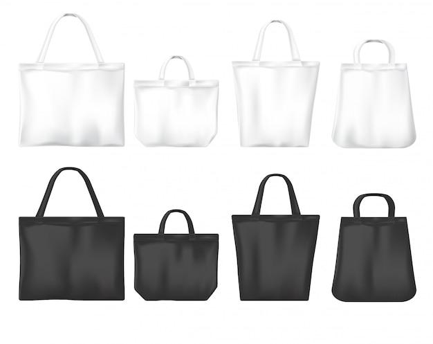Sacos ecológicos de compras em branco e preto Vetor grátis