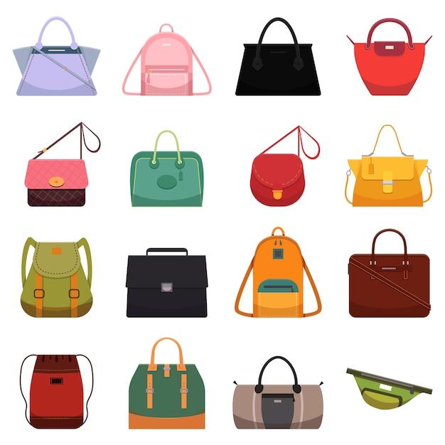 Sacos ocasionais de couro da mulher, símbolo da trouxa da bolsa do reticule da sacola da bolsa e modelo de forma. Vetor Premium