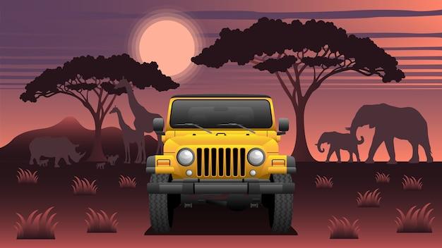 Safari expedition suv com animais e lua Vetor Premium