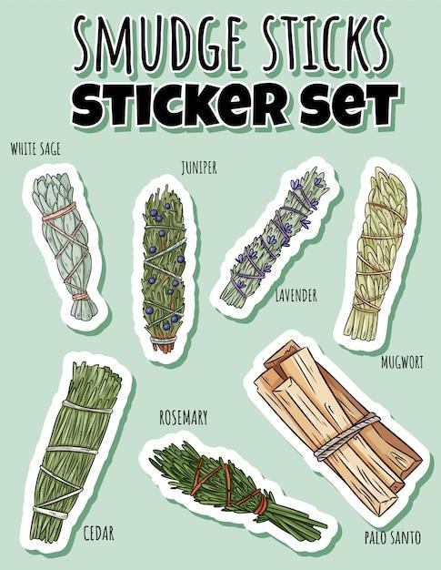 Sage blud varas desenhado à mão conjunto de adesivos. coleção de feixes de ervas Vetor Premium