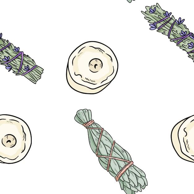 Sage mancha varas e velas desenhados à mão boho padrão sem emenda Vetor Premium