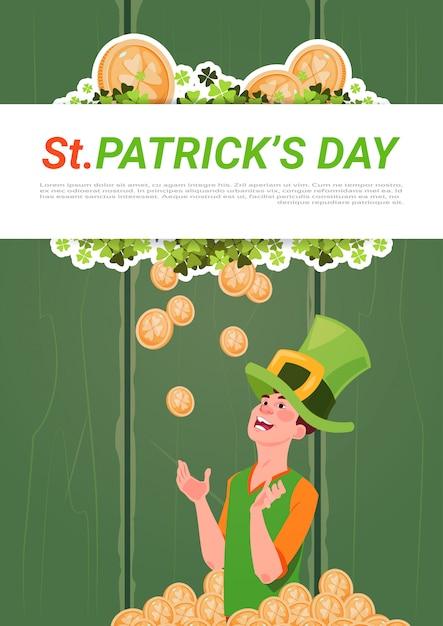 Saint patricks day banner com homem de chapéu de duende sobre fundo dourado moedas Vetor Premium