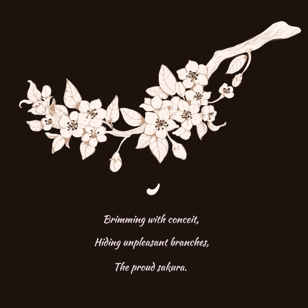 Sakura cereja ilustração em preto Vetor grátis