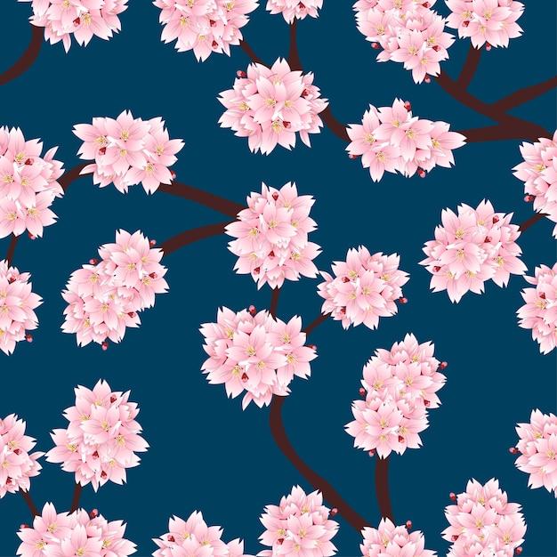 Sakura cherry blossom em fundo azul índigo Vetor Premium