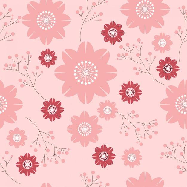 Sakura flor padrão sem emenda Vetor Premium
