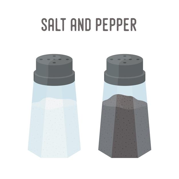 Sal, conjunto de pimenta, utensílios de cozinha. saleiro e caixa de pimenta Vetor Premium