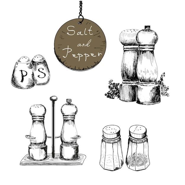 Sal e pimenta, conjunto de desenhos Vetor Premium
