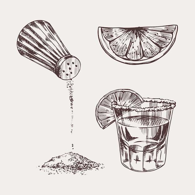 Sal e uma dose de tequila e limão Vetor Premium