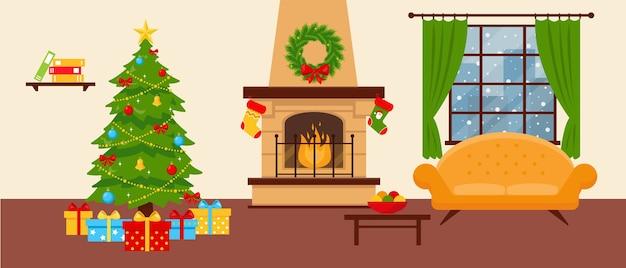 Sala aconchegante com lareira, sofá e árvore de natal decorada. Vetor Premium