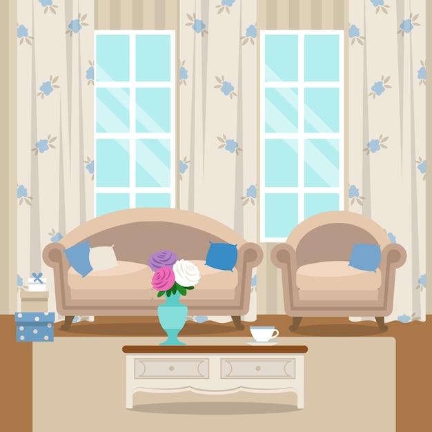 Sala com móveis. interior acolhedor. vetor de estilo simples Vetor Premium