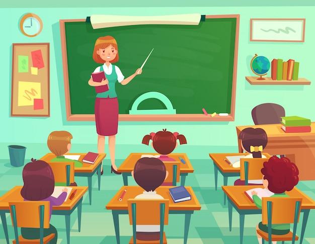 Sala de aula com crianças Vetor Premium