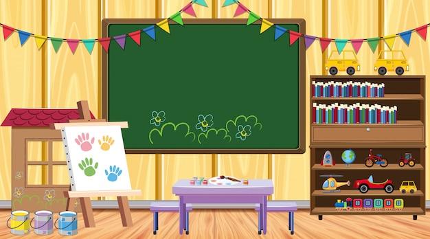 Sala de aula com lousa e estante Vetor Premium