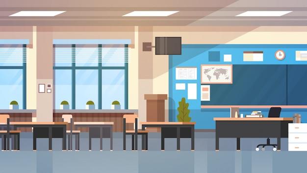 Sala de aula da escola vazia interior moderna sala de aula placa de mesa Vetor Premium