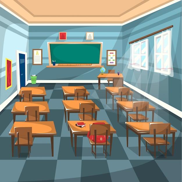 Sala de aula do ensino médio com placa verde de giz Vetor Premium