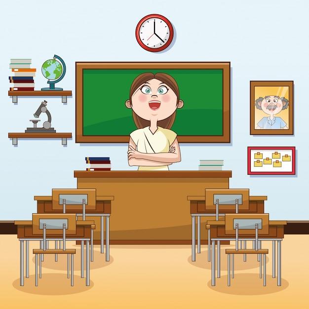 Sala De Aula Do Professor De Volta Ao ícone Do Desenho Animado Da