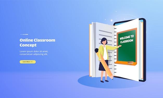 Sala de aula on-line com o conceito de ilustração de e-book Vetor Premium