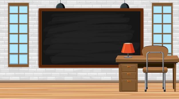 Sala de aula vazia com mesa e professor mesa Vetor Premium