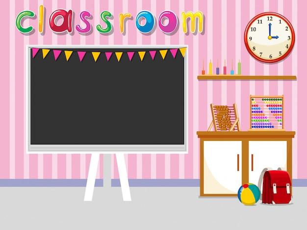 Sala de aula vazia com quadro-negro Vetor grátis