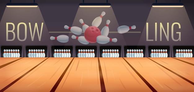 Sala de boliche dos desenhos animados, ilustração vetorial Vetor Premium