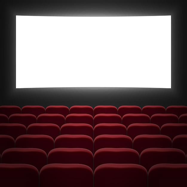 Sala de cinema com tela branca e cadeiras vermelhas Vetor Premium