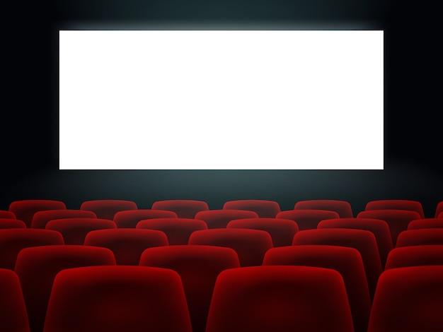 Sala de cinema com tela em branco branca e assentos Vetor Premium