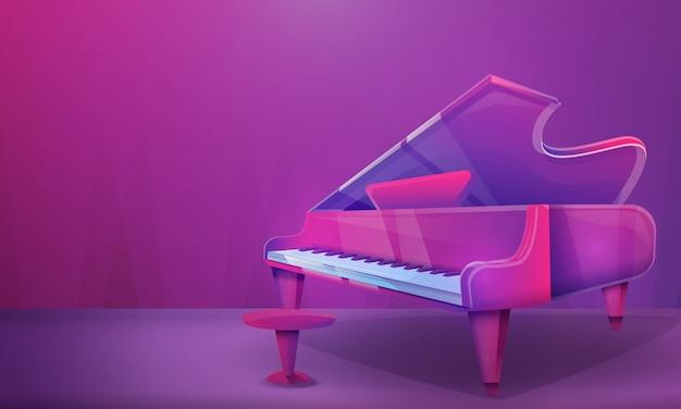 Sala de concertos dos desenhos animados com piano, ilustração vetorial Vetor Premium