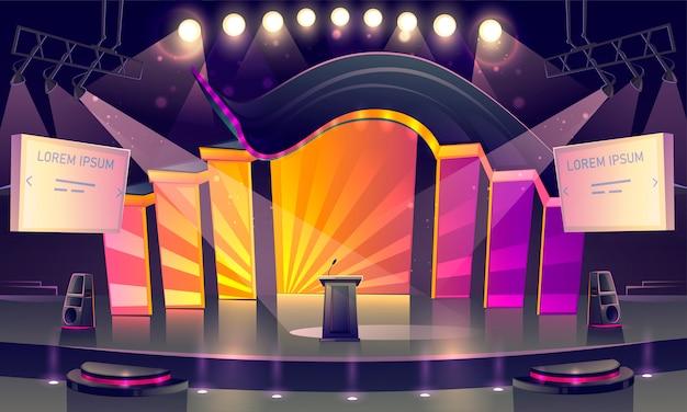 Sala de conferências, palco para apresentação, cena Vetor grátis