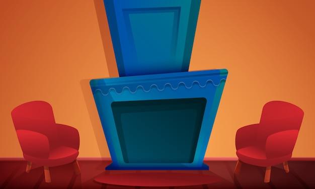 Sala de desenho animado com lareira e cadeiras, ilustração vetorial Vetor Premium