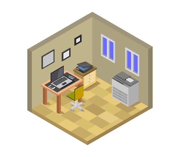 Sala de escritório isométrica Vetor Premium
