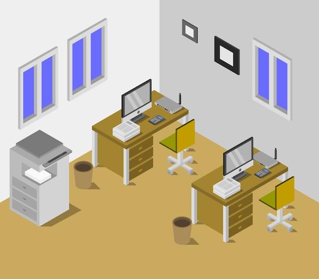 Sala de escritório isométrica Vetor grátis